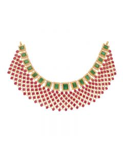110VG4454 | 22kt Gold Ruby Emerald Necklace  110VG4454