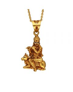 127VG3953 | Lord Krishna Antique Gold Pendant  127VG3953