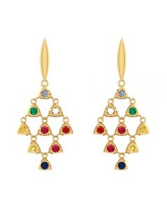 VER-2073 | Vaibhav Jewellers 14K Yellow Gold Earrings VER-2073