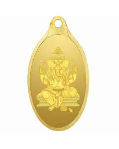 VJGOP002 | Vaibhav Jewellers 2.15 Gm Oval Ganesh 24K (999) Yellow Gold Pendant
