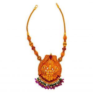 22K Antique Kamakshi Neckalce with Ruby & Emerald Beads