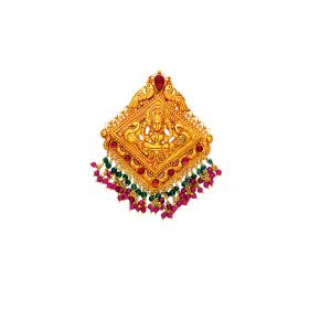 Antique Hansa Lakshmi Gold Pendant with Ruby & Emerald Beads
