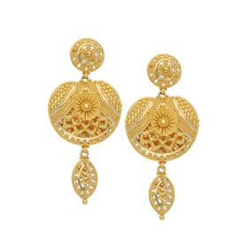 22K Gold Intricate Daily Drop Earrings