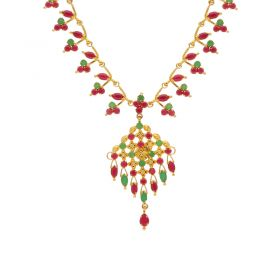 Gold Fancy Ruby Emerald Necklace 10VG3743