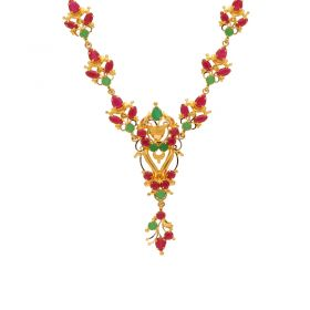 Gold Fancy Ruby Emerald Necklace 10VG3746
