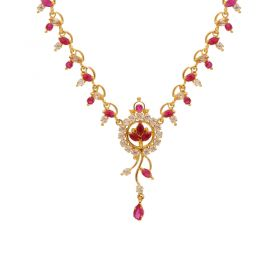 Gold Fancy Ruby Emerald Necklace 10VG3751