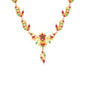 Gold Fancy Ruby Emerald Necklace 10VG3752