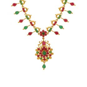 Gold Fancy Ruby Emerald Necklace 10VG3757