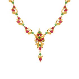 Gold Fancy Ruby Emerald Necklace 10VG3758