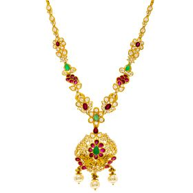22K CZ Laced Gold Floral Necklace