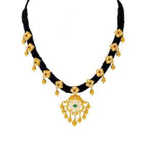 Ancestral Black Threaded Gold Necklace