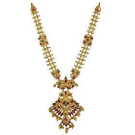 Plush Ruby Emerald Gold Necklace