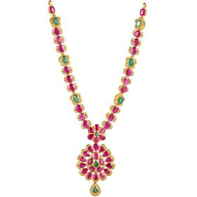 Ruby Emerald Fusion Gold Necklace