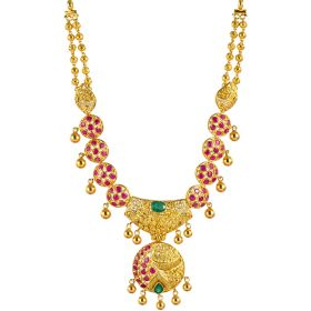 Ruby Decked Orbs Gold Necklace