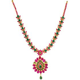 Assorted Ruby Emerald Gold Necklace