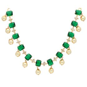 Emerald & Pearl Drop Pachi Necklace
