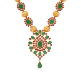 22kt Gold Ruby Emerald Necklace  110VG4449