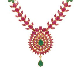 22kt Gold Ruby Emerald Necklace  110VG4450