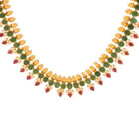22K Gold Ruby Emerald Necklace  110VG4566