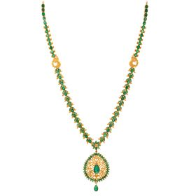 Emerald Floral Gold Necklace