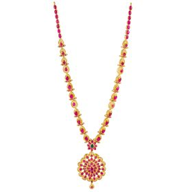 Frilled Ruby Gold Necklace