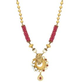 Ruby Beads Knoted Antique Gold Haram