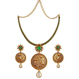 Emerald Flower Gold Necklace Set