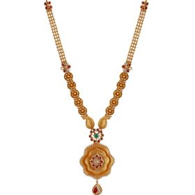Gold Floral Haram With Emerald And Ruby