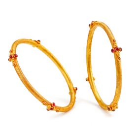 Sophisticated Ruby Gold Bangles