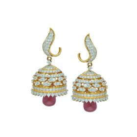 Ruby Drop Signity Gold Jhumka Earrings