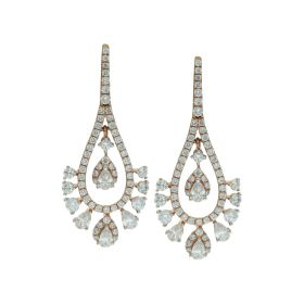 Signity Double Pear Gold Drop Earrings