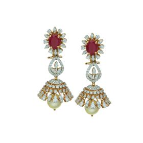 Stone Studded Gold Jhumka Earrings