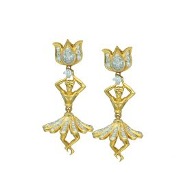 Modern Dancing Damsel Gold Drop Earrings