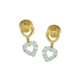 Stone Studded Double Heart Gold Drop Earrings