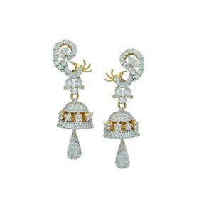 Stone Studded Peacock Gold Drop Earrings