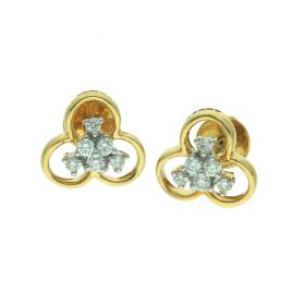 Gold Clover Stone Stud Earrings