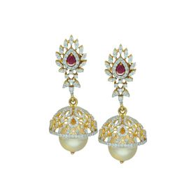 Pearl Drop Gold Studded Jhumka Earrings
