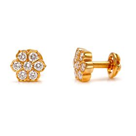 Traditional Floral Diamond Studs Earring