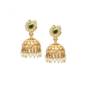 22 KT Diamond Studded Jhumkas 158VG967