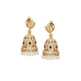 22 KT Diamond Studded Jhumkas 158VG973