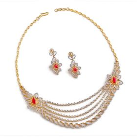 Tara Floral Diamond Necklace Set