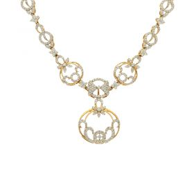 18KT Diamond Studded Gold Fancy Necklace 159VG2784