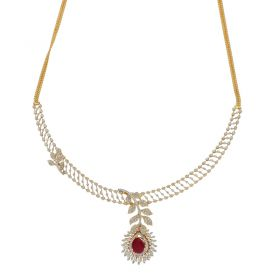 18KT Diamond Necklace  with Ruby Stone 159VG3580