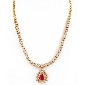 Classic No-fuss Ruby Diamond Necklace