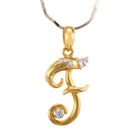 Swirly F-shaped Diamond Pendant