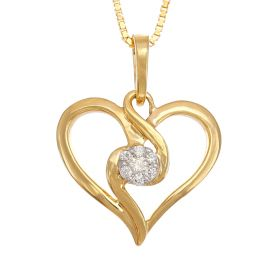 Diamond-Speckled Regal Heart Diamond Pendant