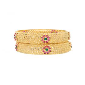 22K Broad Gold Bangle set