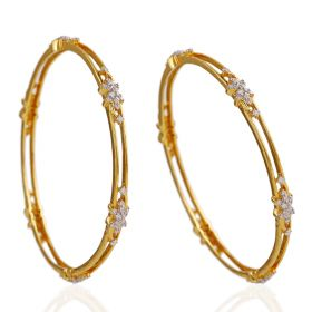 Double Line Gold And Diamond Bangle
