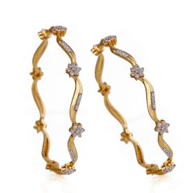 Swirls and Floret Diamond Bangles