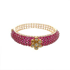 Regal Polki And Diamond Ruby Bracelet